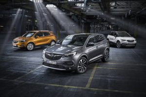 Opel X-family: the highlights of Crossville, Opel's stand at the Frankfurt motor show, include the world premiere of the Grandland X SUV, here flanked by the Mokka X (left) and the Crossland X.